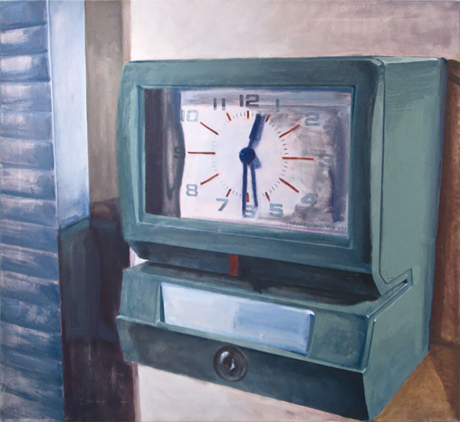 "It's Not About the Clock, or KA-CHUNK, 48""x52"" Oil on Canvas, 2011"